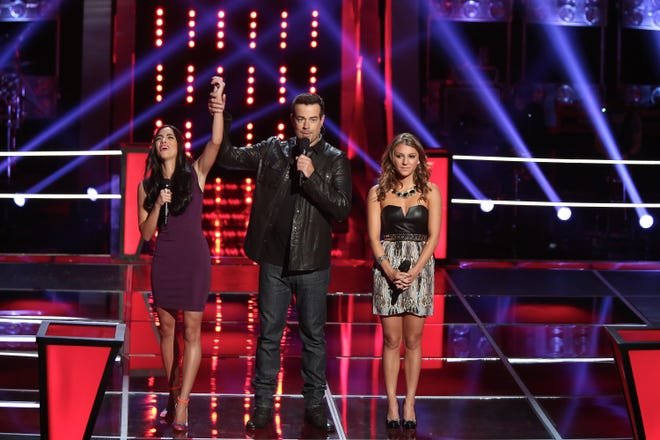 """Former """"Voice"""" contestant Jordan Pruitt with host Carson Daly."""