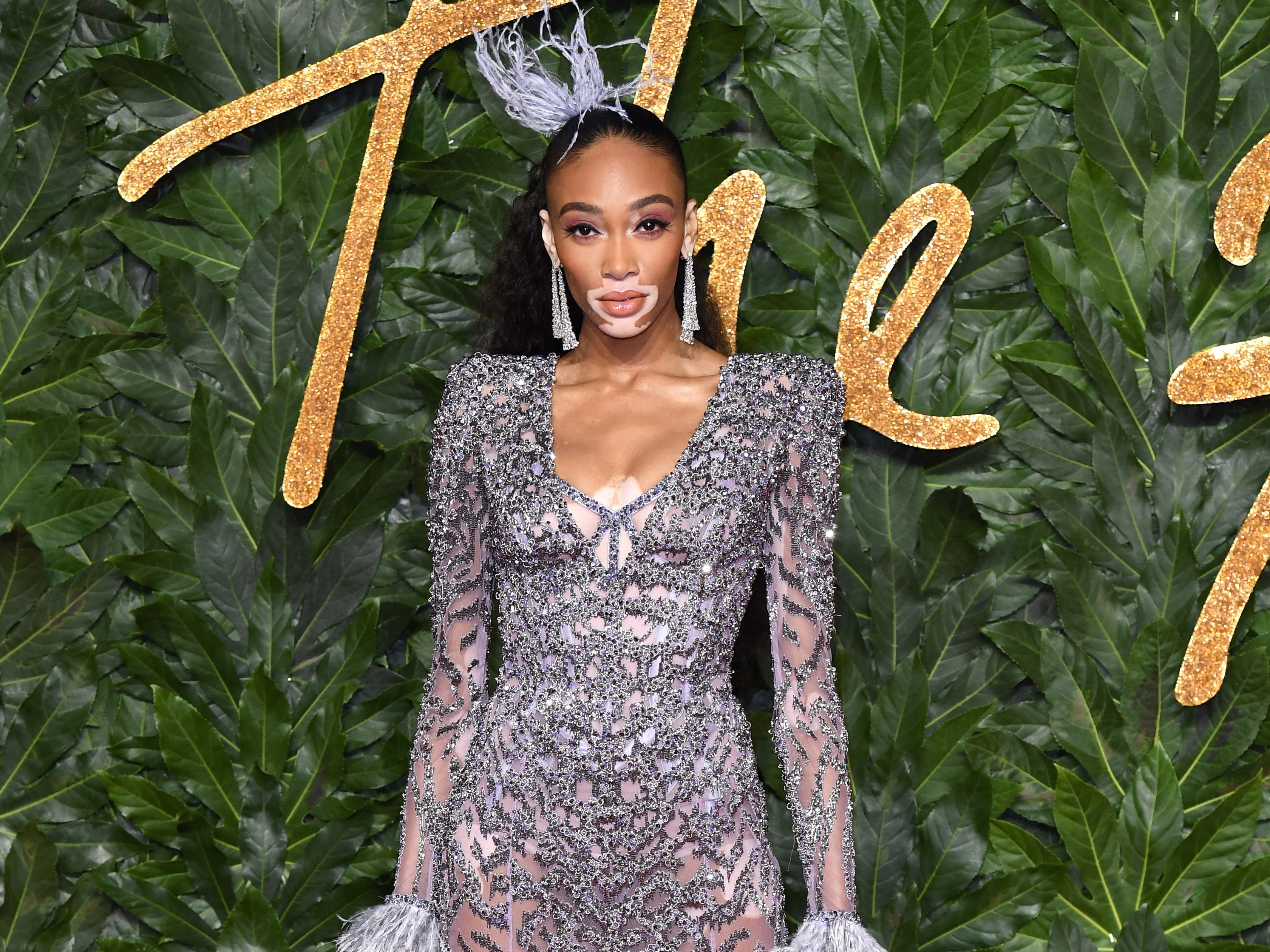 LONDON, ENGLAND - DECEMBER 10:  Winnie Harlow arrives at The Fashion Awards 2018 In Partnership With Swarovski at Royal Albert Hall on December 10, 2018 in London, England.  (Photo by Karwai Tang/WireImage) ORG XMIT: 775267791 ORIG FILE ID: 1071537030