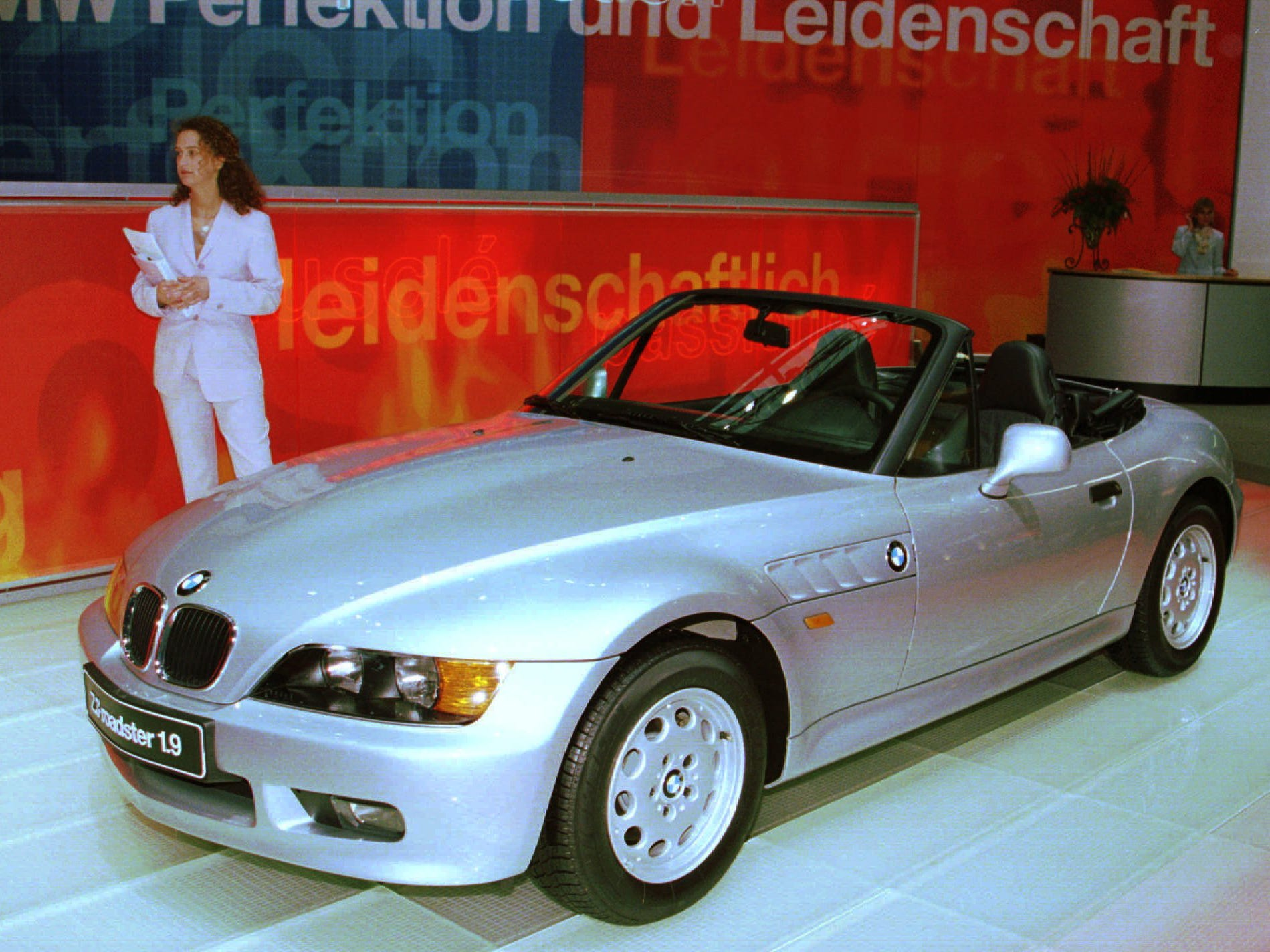 An independant jury, composed of motor journalists and design experts, elected as Cabriolet or Roadster of the Year for 1996 the ''BMW Z3 Roadster'' during the press preview day at the 66th Geneva Motor Show, Switzerland, Tuesday March 5, 1996. (AP Photo/Donald Stampfli. ORG XMIT: GEV106 [Via MerlinFTP Drop]