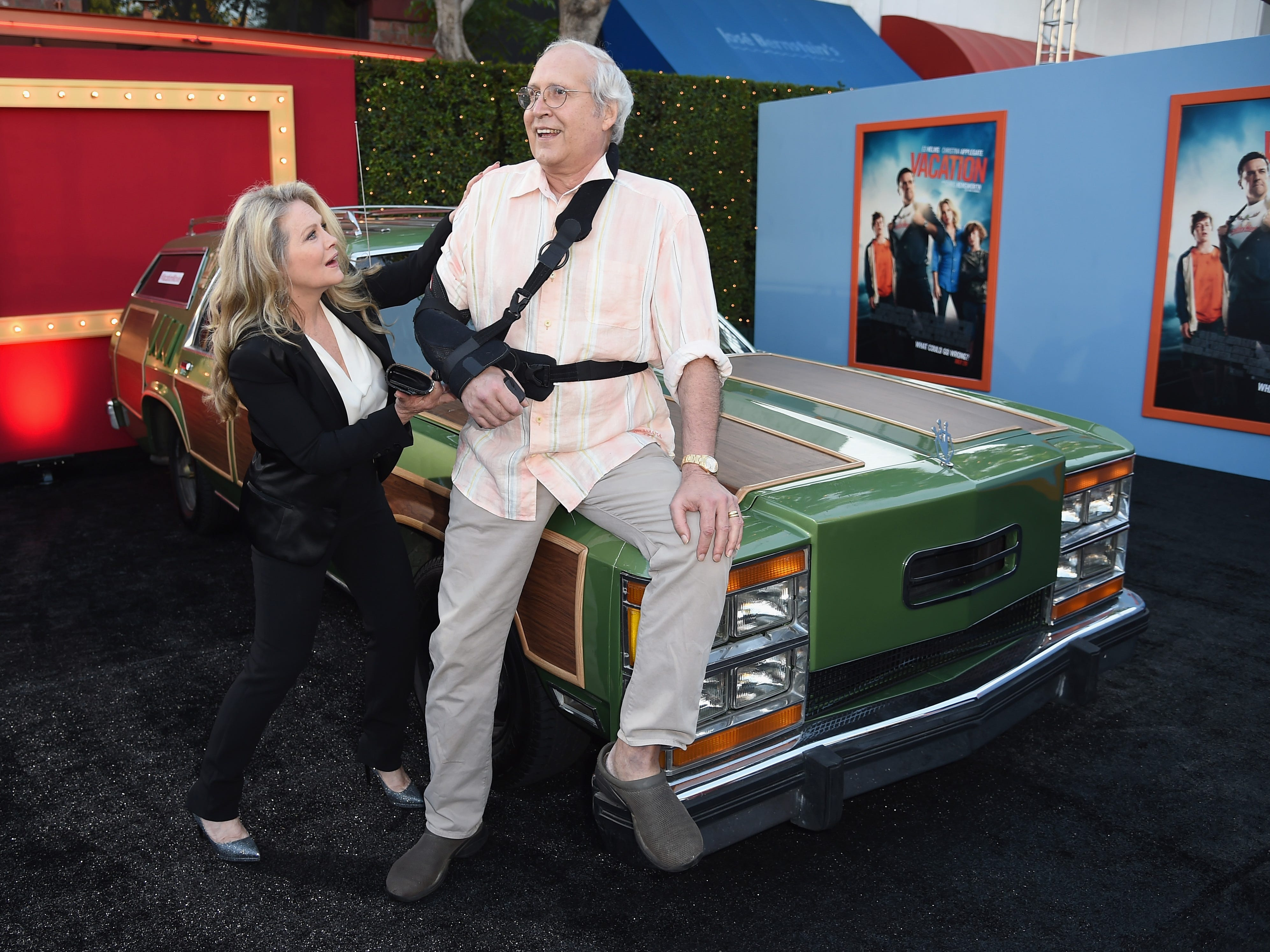 """WESTWOOD, CA - JULY 27:  Actors Beverly D'Angelo and Chevy Chase attend the premiere of Warner Bros. Pictures """"Vacation"""" at Regency Village Theatre on July 27, 2015 in Westwood, California.  (Photo by Kevin Winter/Getty Images)"""
