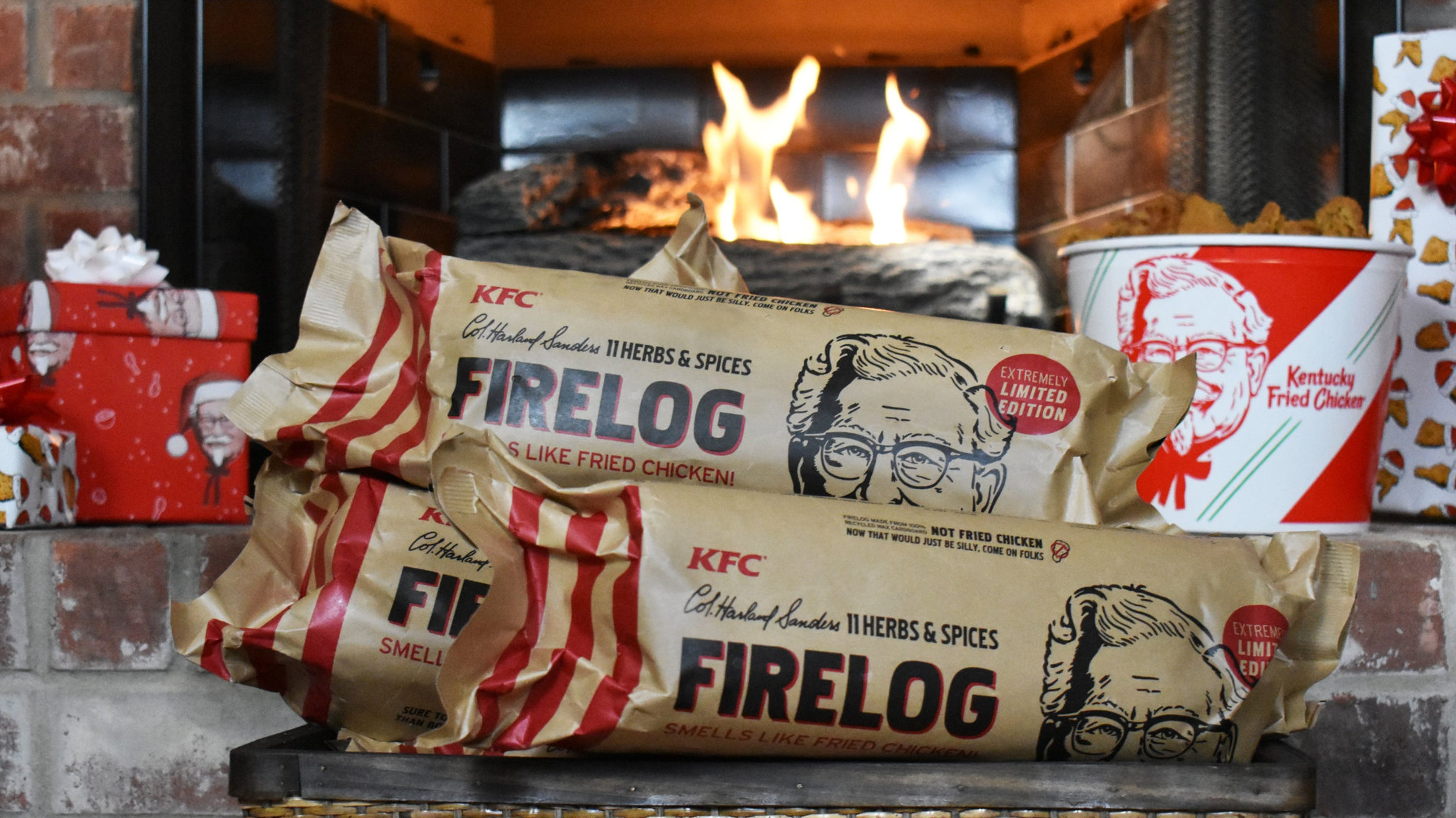 KFC wants to warm your home with a log that smells like fried chicken