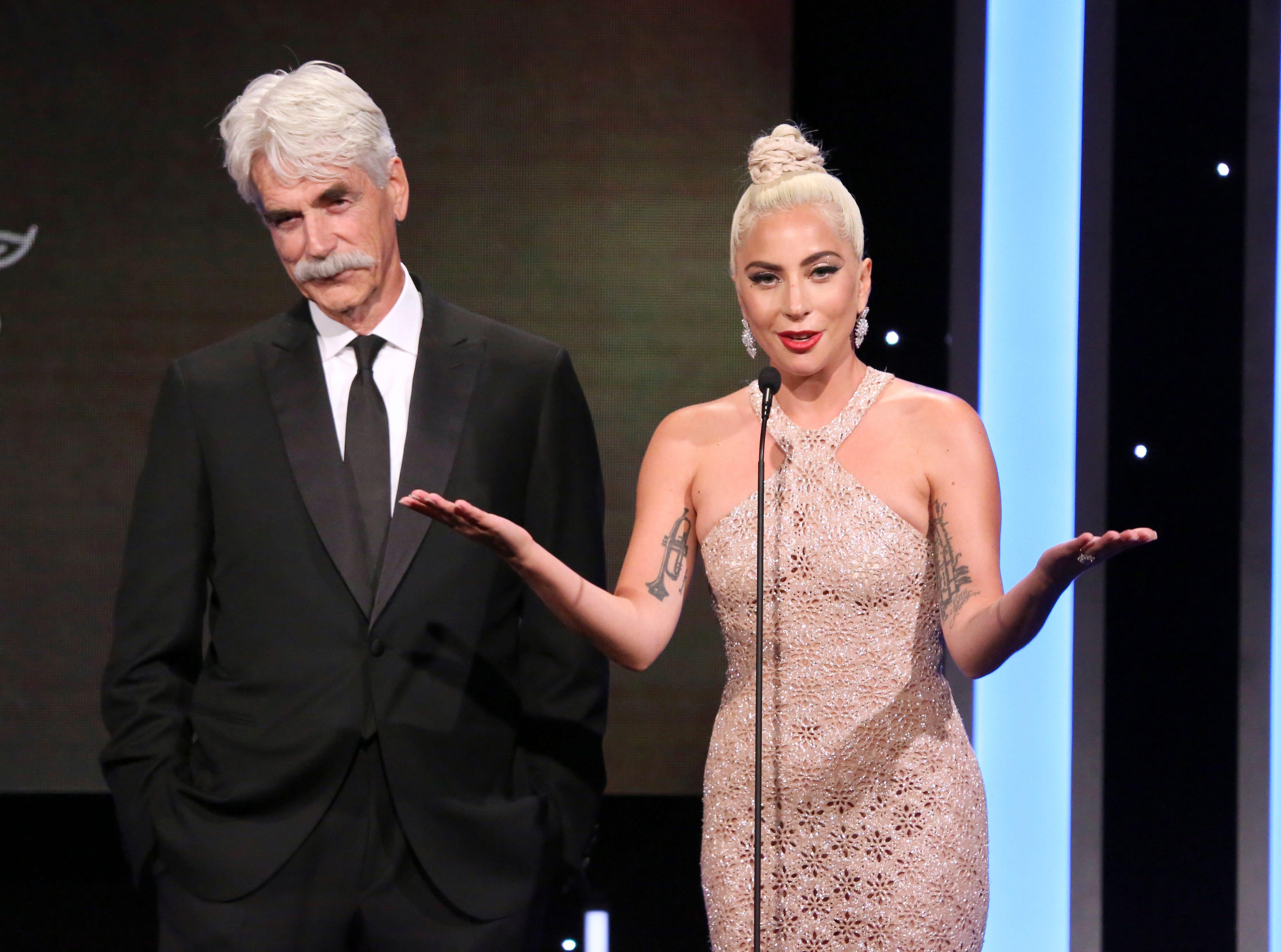 November 29: Sam Elliott and Lady Gaga speak at the American Cinematheque Award ceremony honoring Bradley Cooper.