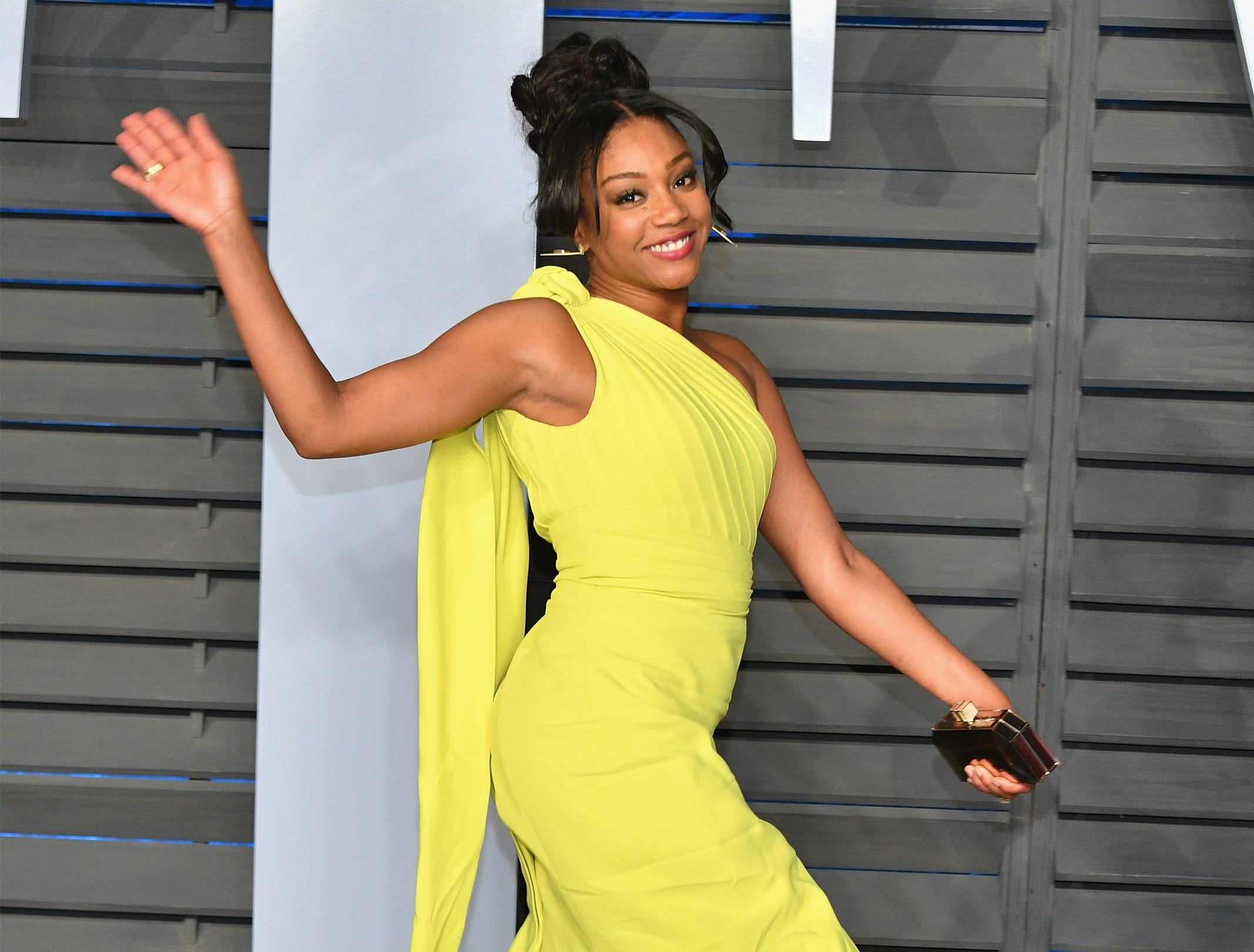 March 4: Tiffany Haddish waves at the Vanity Fair Oscar Party in Beverly Hills, California.