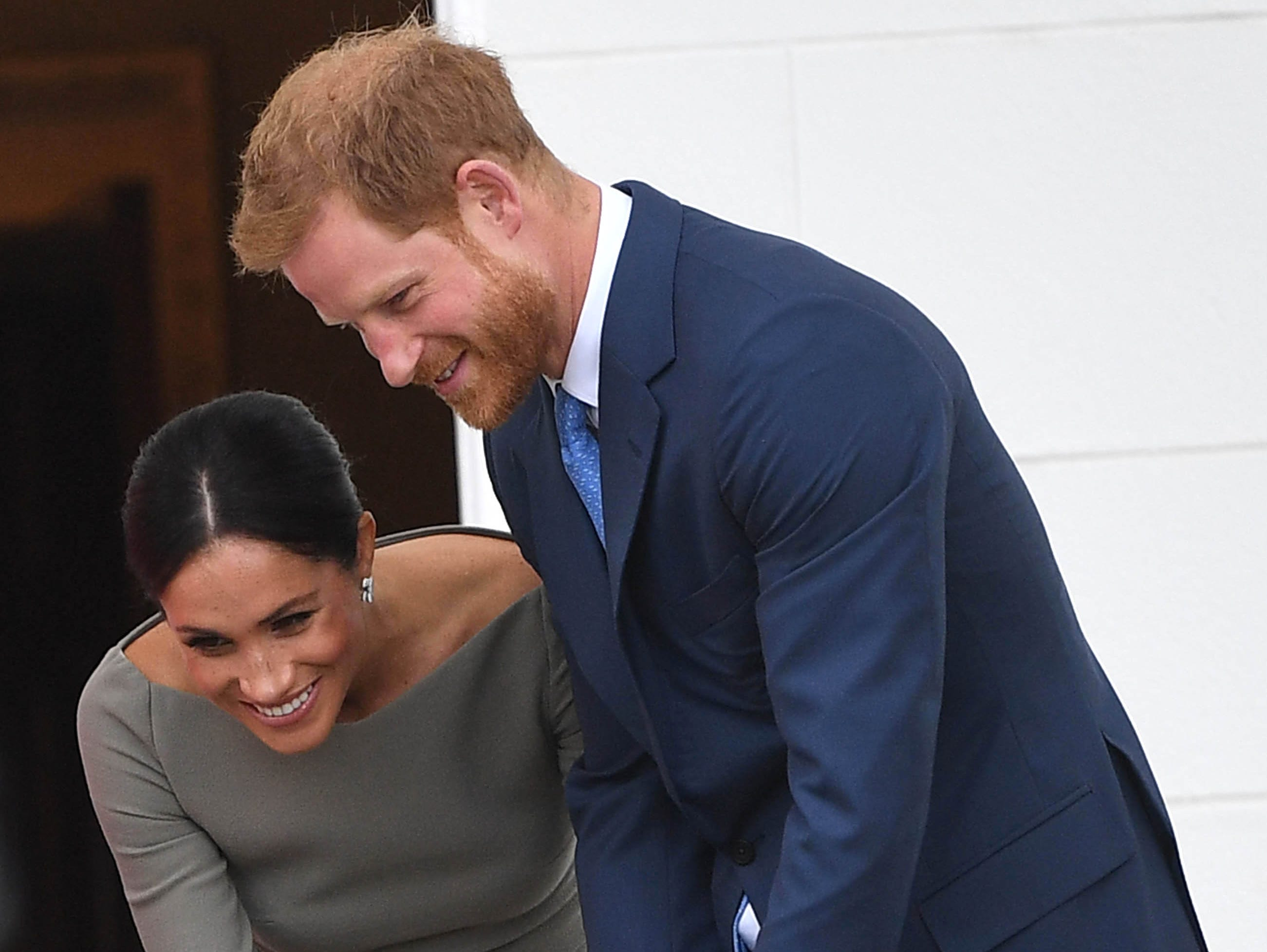 July 11:  Prince Harry and Duchess Meghan meet a furry friend while visiting Dublin, Ireland.