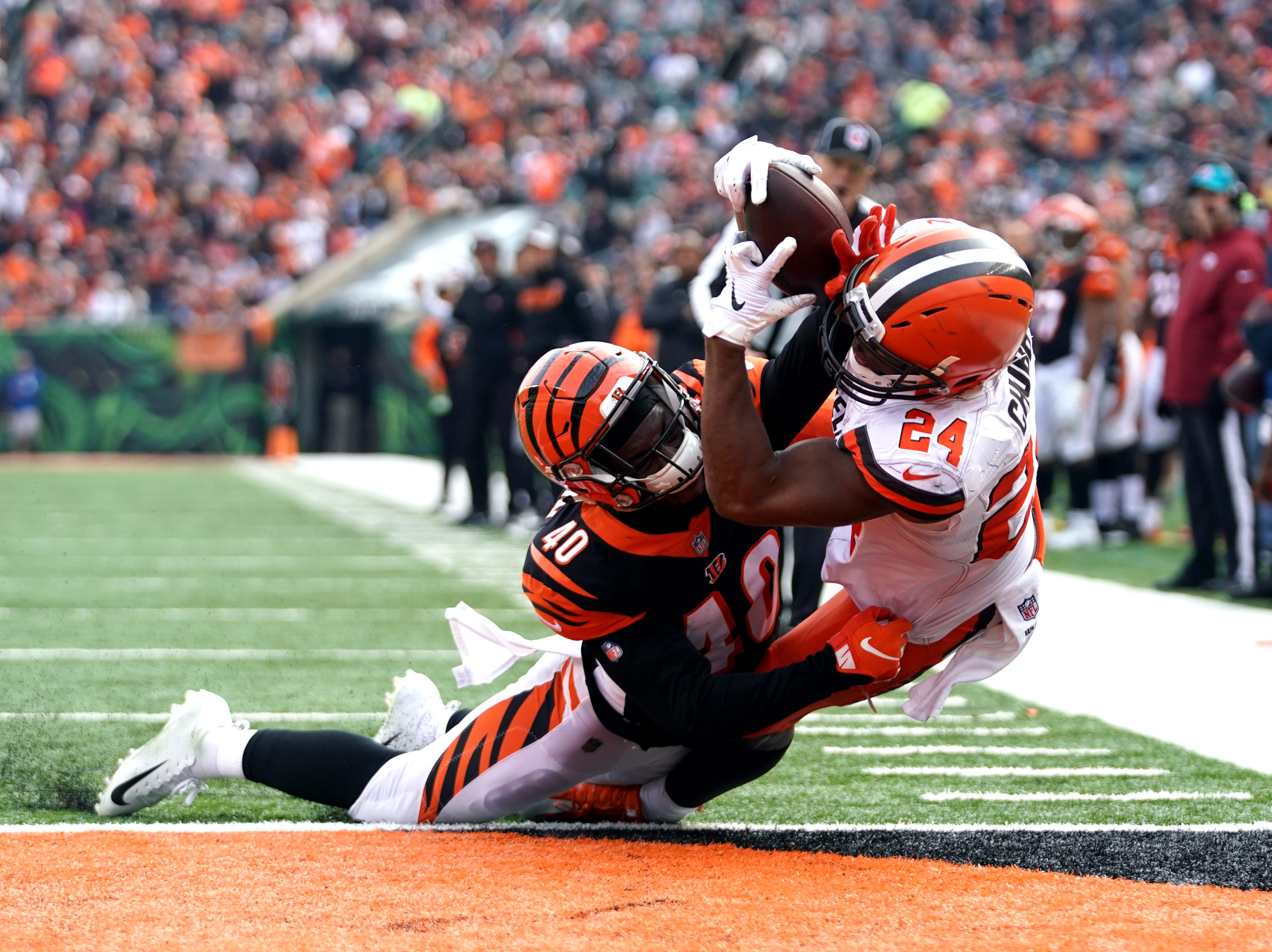 Nov. 25: Cincinnati Bengals defensive back Brandon Wilson (40) defends as Cleveland Browns running back Nick Chubb (24) catches a pass for a touchdown in the first half at Paul Brown Stadium.