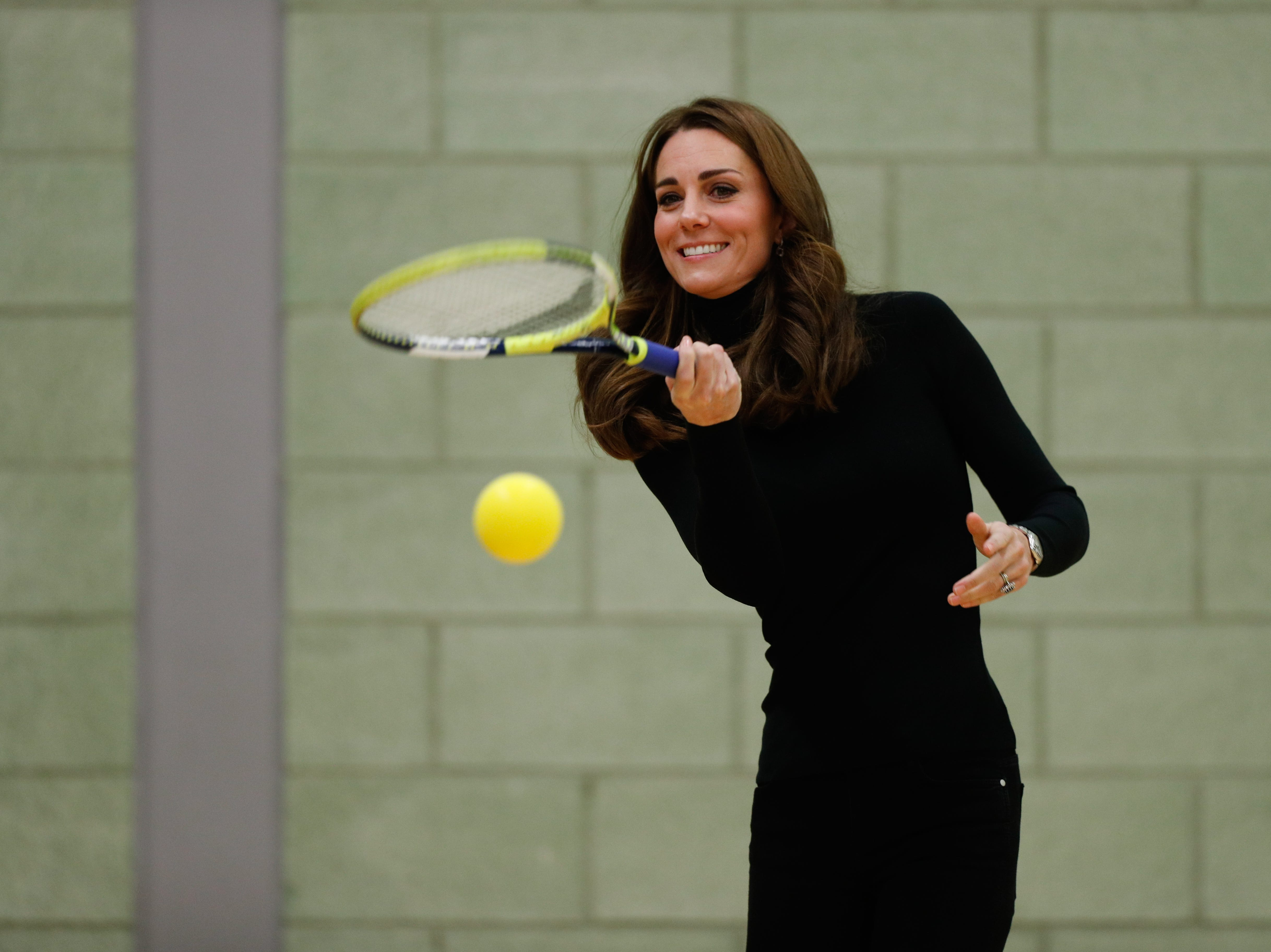 October 30: Duchess Kate gets sporty on a visit to Basildon, England.