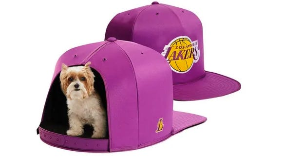 This Los Angeles Lakers NBA Nap Cap Pet Bed could be the perfect gift for your pet for the holidays