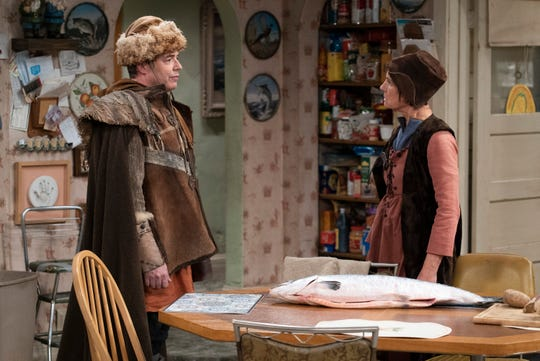 Jackie (Laurie Metcalf), right, and her bofriend, Peter (guest star Matthew Broderick), where medieval Nordic clothing as part of his academic experiment in Tuesday's episode of 'The Conners.'