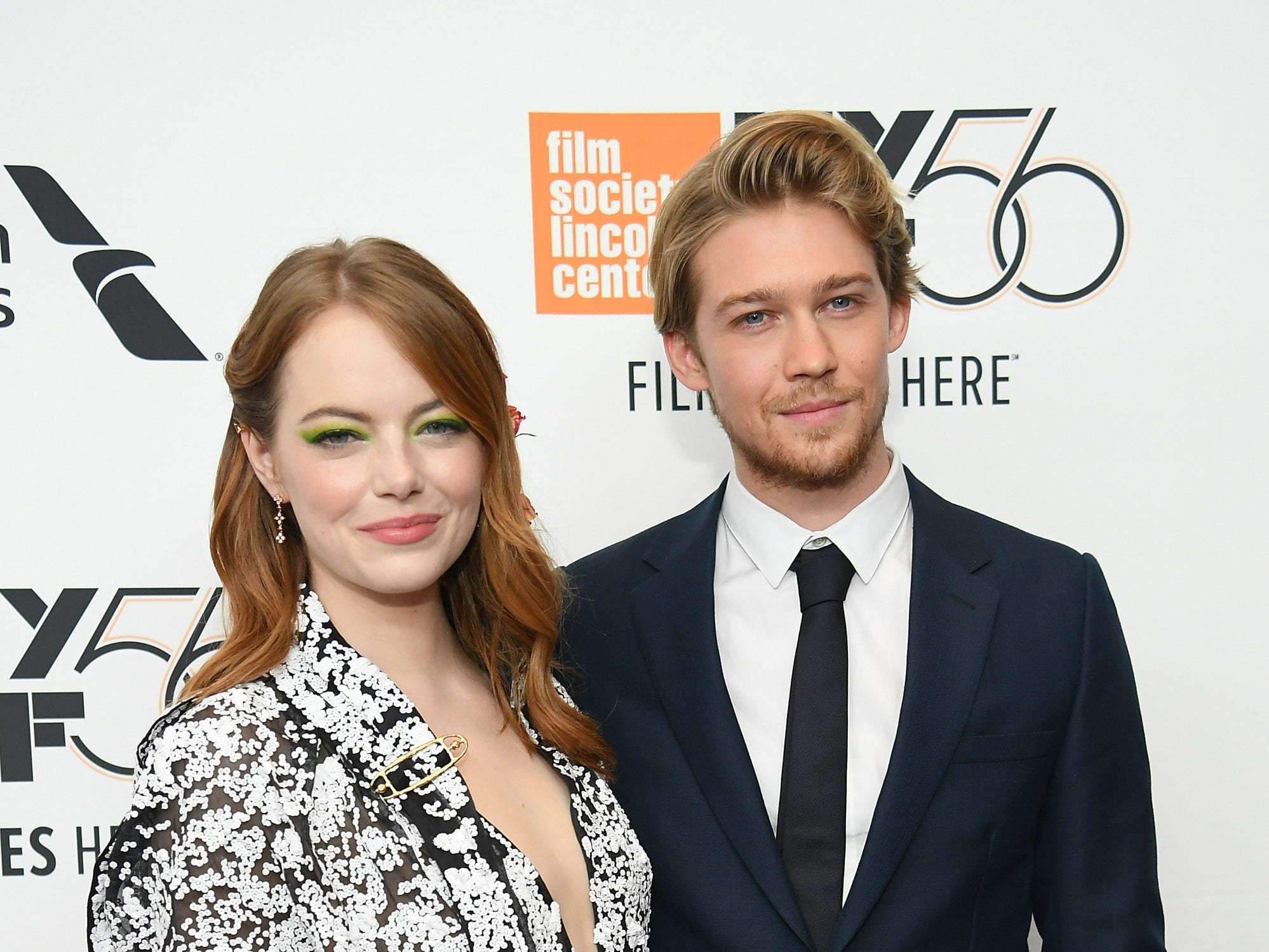 """September 28: Emma Stone and Joe Alwyn pose together at the opening night premiere of """"The Favourite"""" during the New York Film Festival."""