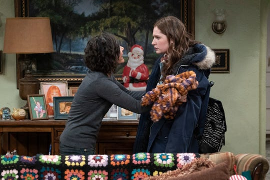 Darlene (Sara Gilbert), left, confronts teen daughter Harris (Emma Kenney) after learning a police officer caught her drinking in Tuesday's episode of 'The Conners.'