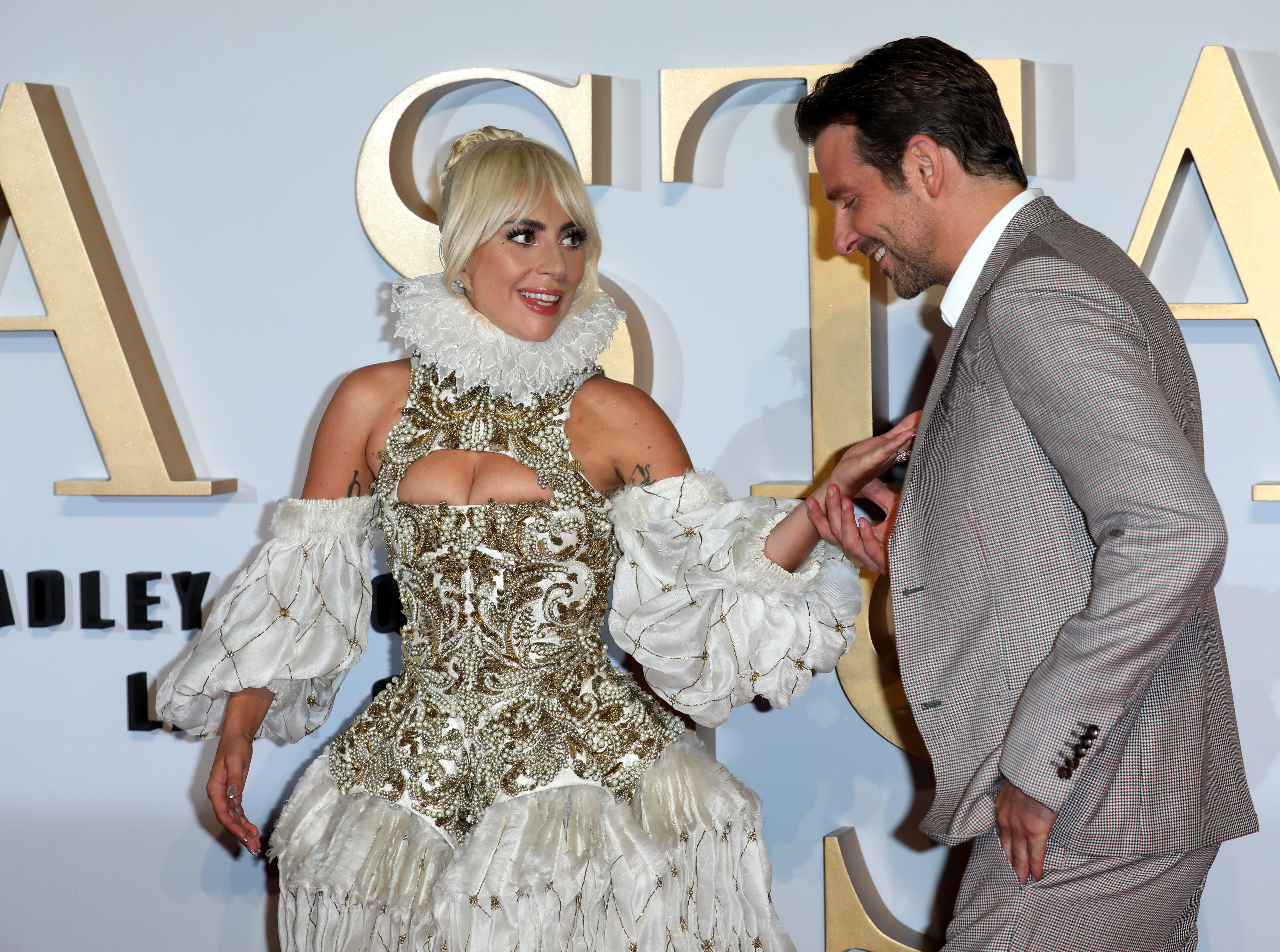 """September 27: Lady Gaga and Bradley Cooper arrive at another premiere for """"A Star Is Born,"""" this time in London."""