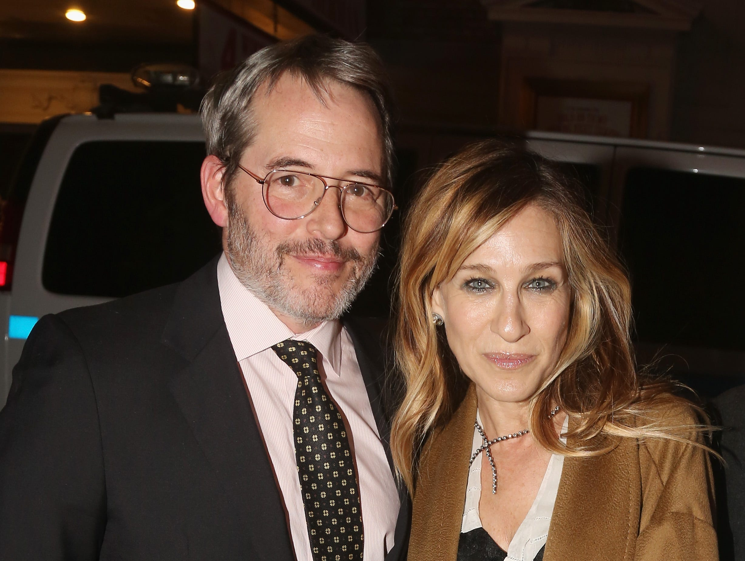 """Feb. 22:  Matthew Broderick and wife Sarah Jessica Parker pose at Bernadette Peters' Opening Night celebration for """"Hello Dolly"""" on Broadway."""