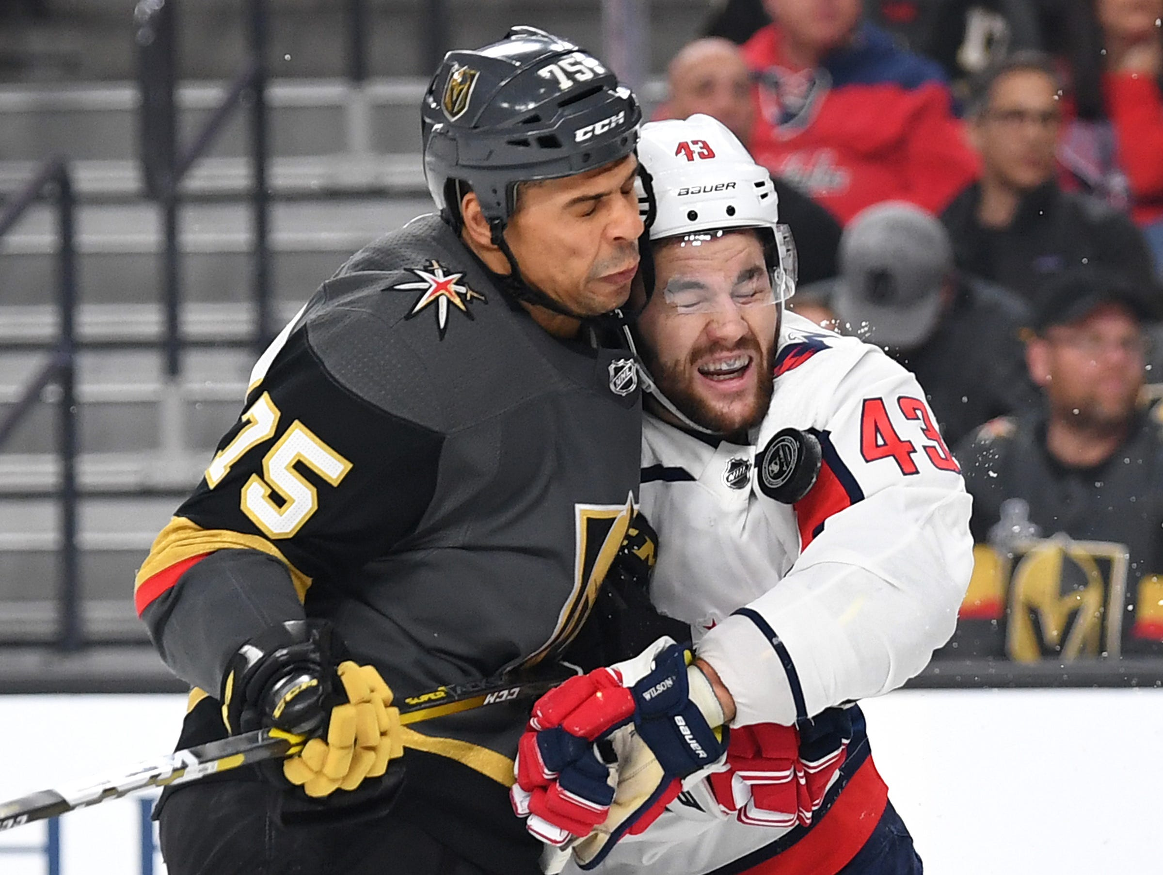 Dec. 4: Vegas Golden Knights right wing Ryan Reaves (75) checks Washington Capitals right wing Tom Wilson (43) during the first period at T-Mobile Arena.