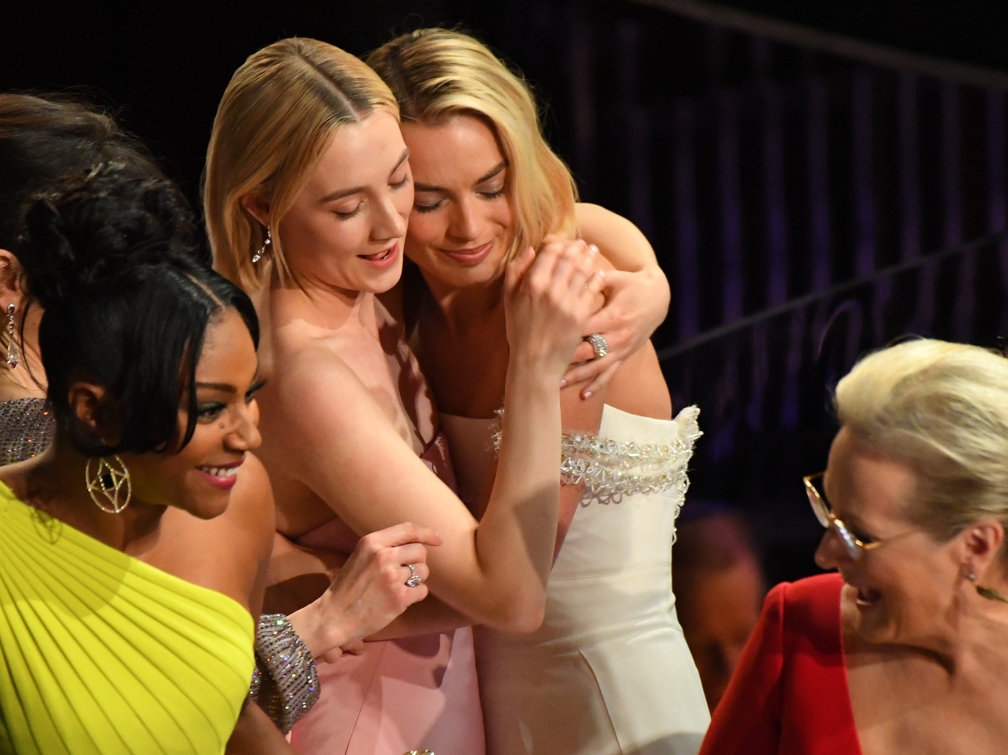 March 4: Saoirse Ronan and Margot Robbie hug at the Oscars.