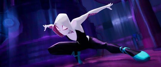 """Spider-Gwen (Hailee Steinfeld) springs into action in """"Spider-Verse."""""""