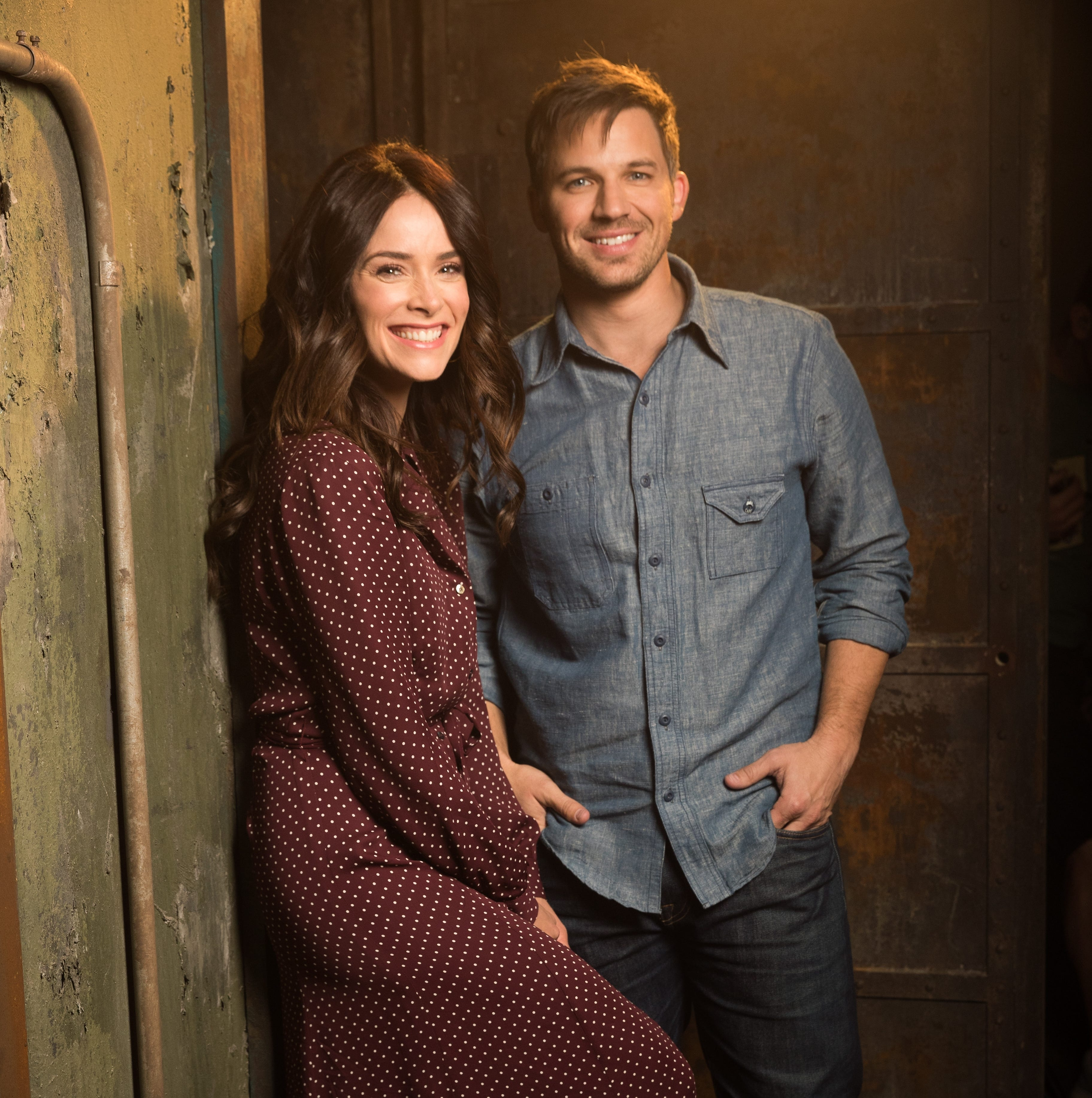 "Abigail Spencer, who plays Lucy Preston, and Matt Lanter, who plays Wyatt Logan, pose for a photo during a shooting break for the Dec. 20 finale of NBC's ""Timeless,"" which was twice the No. 1 pick in USA TODAY's Save Our Shows poll."