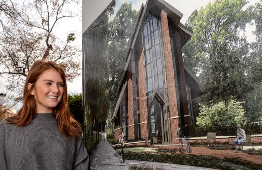 Hannah Reen, a senior at Clemson University, talks about the future Samuel J. Cadden Chapel to be built near the Brooks Center for Performing Arts and next to the Strom Thurmond Institute.