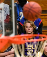 Clate Pendergrass watches a ball go in the net during the game with Wren at TL Hanna High School in Anderson December 12, 2018. TL Hanna won 79-76.