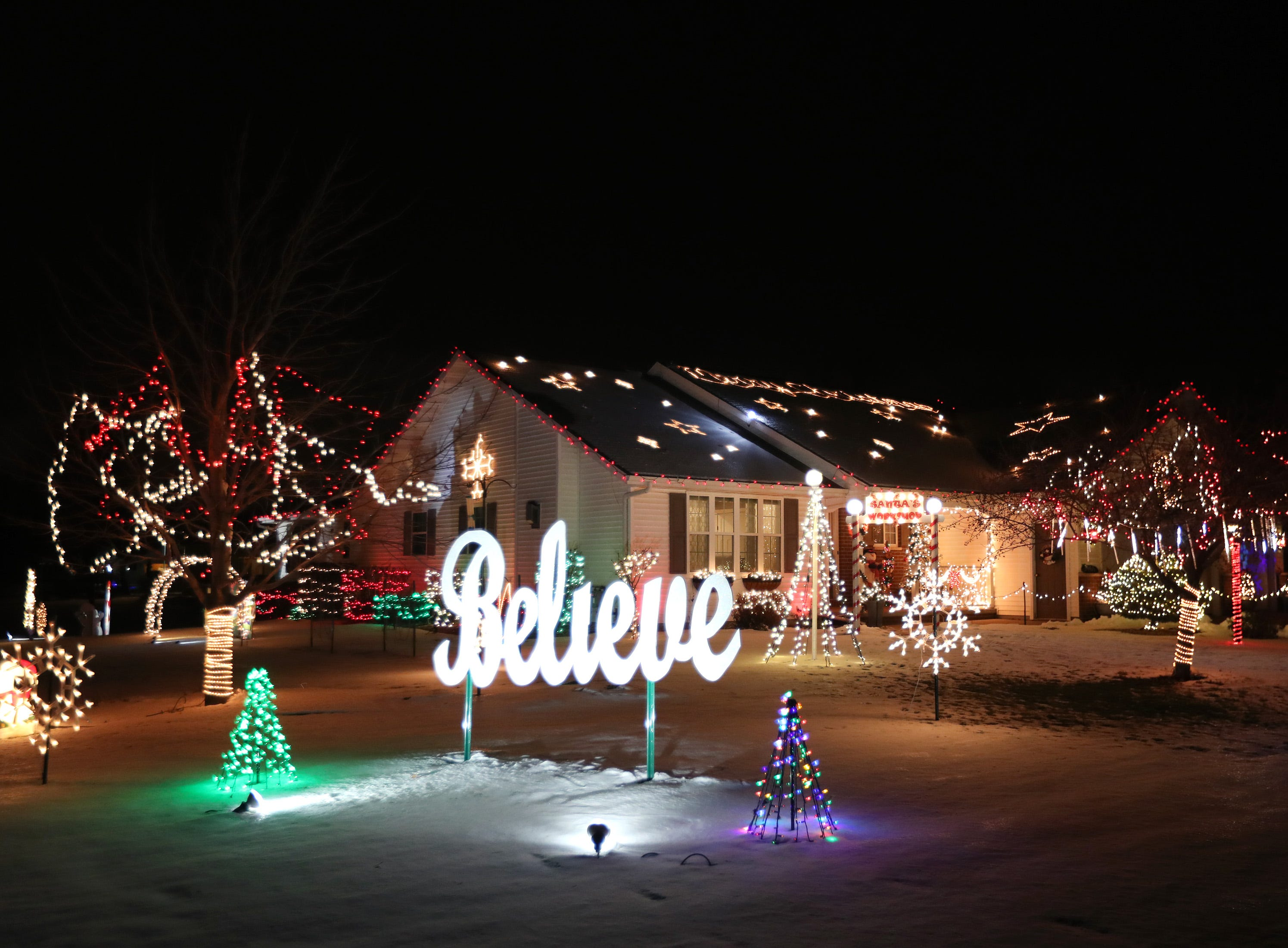 A Christmas light display on the 9400 block of Sara Lane Wednesday Dec. 5, 2018, in Darboy, Wis.