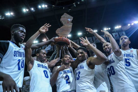 Myles Powell (center-right) is one of just two current Seton Hall players who took part in the Pirates' Garden State Hardwood Classic victory of 2016.