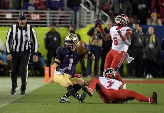 Washington cornerback Byron Murphy intercepts two passes in the Pac-12 Championship Game at Levi's Stadium in Santa Clara, Calif., last month. Murphy says the Huskies' star-studded defensive backfield looks forward to facing Ohio State's high-powered offense in the Rose Bowl.