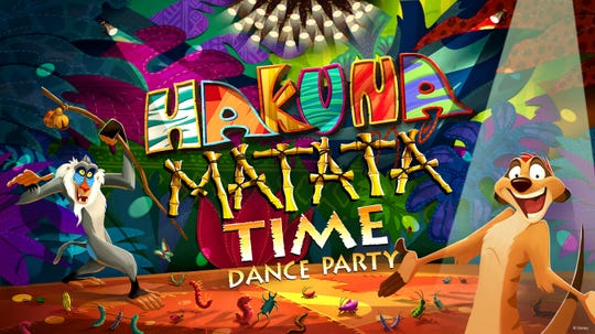 """In this artist's rendering, Rafiki and Timon invite guests to join the """"Hakuna Matata Time Dance Party"""" at Disney's Animal Kingdom at Walt Disney World Resort. Starting Jan. 18, 2019, guests can let their inner animals roam free on the dance floor on Discovery Island. (Disney)"""