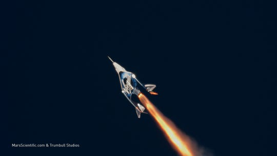 """On Dec. 13, 2018, test pilots Mark """"Forger"""" Stucky and Rick """"C.J."""" Sturckow flew Virgin Galactic's SpaceShipTwo """"VSS Unity"""" above 50 miles over Mojave, California, completing the craft's first suborbital spaceflight."""