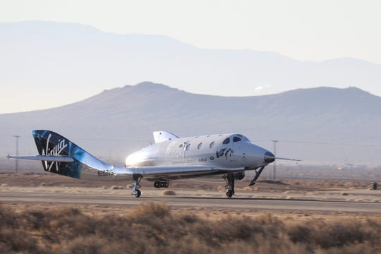 "Virgin Galactic's SpaceShipTwo ""VSS Unity"" touched down in Mojave, California, to complete its first suborbital spaceflight on Dec. 13, 2018."