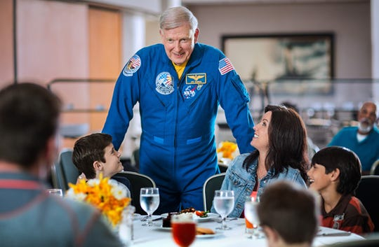 "At Kennedy Space Center Visitor Complex, guests can choose to have ""lunch with an astronaut"" for an additional fee."