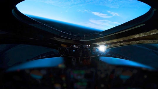 """A view of Earth as seen from Virgin Galactic SpaceShipTwo """"VSS Unity,"""" which flew to an altitude of 51 miles -- above the boundary of space, by one definition -- during a test flight over Mojave, California on Thursday, Dec. 13, 2018."""