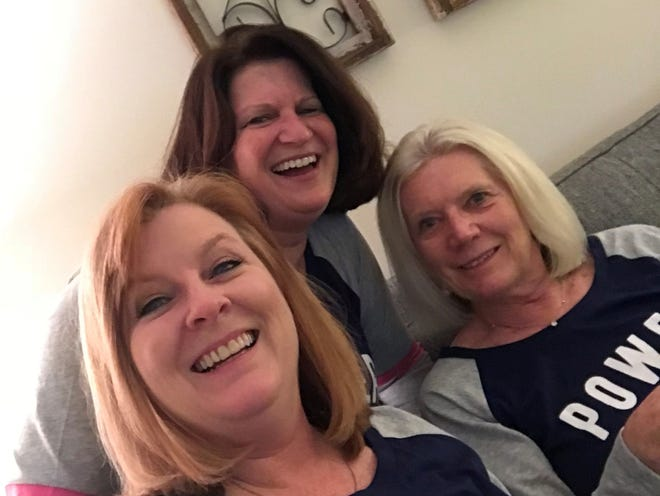 I've been good this year, Santa, I promise. When my friend Connie Harvey, center, wasn't feeling well, Ruth Prather, right, and I cheered her up with a pajama party.