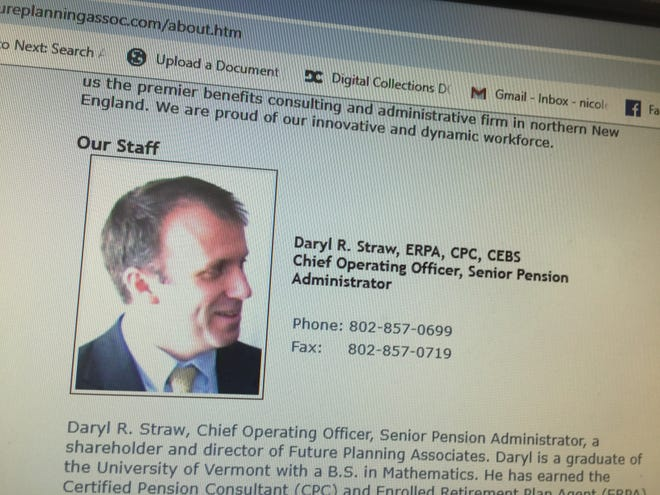 A screenshot shows Daryl Straw, chief operating officer and senior pension administrator of Future Planning Associates in Williston.