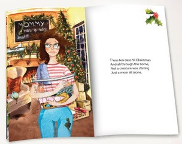 Author Dena Blizzard calls 'Shiraz on the Shelf' your new favorite inappropriate Christmas poem. It comes packaged with a wine glass.