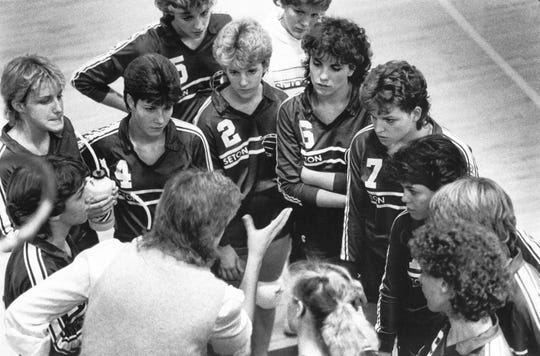 NOVEMBER 4, 1984: Seton coach Mary Jett lectures her players during a timeout.