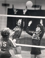 NOVEMBER 9, 1984: Ann Fishburn, left, and Kelley Kemen were two Saints hoping to bring Seton a state volleyball title.