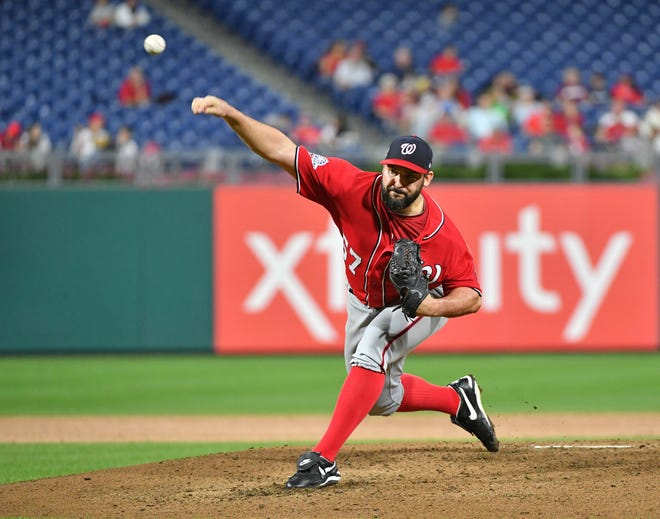 Sep 11, 2018; Philadelphia, PA, USA; Washington Nationals starting pitcher Tanner Roark (57) throws a pitch during the second inning against the Philadelphia Phillies at Citizens Bank Park. Mandatory Credit: Eric Hartline-USA TODAY Sports