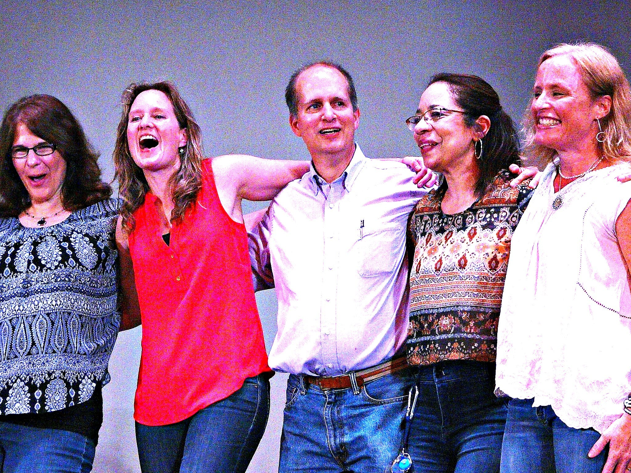 The winning act from the 2016-17 school year Delaware Valley Regional High School's Faculty Talent Show was this dance troupe. Here are, from left, Cynthia Ezzard, Caryn Bowe, Jim Gessner, Ruth Graves and Kristin Henderson.