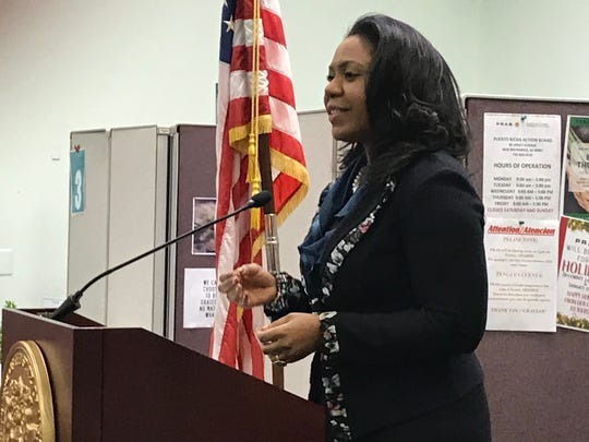 Michellene Davis, Executive Vice President and Chief Corporate Affairs Officer at RWJBarnabas Health, addressed the group at the unveiling of a two-year Housing First pilot program that focuses on chronic homelessness in Middlesex County. .