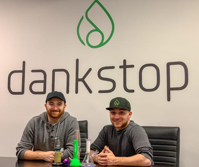 Co-founders Feliks Khaykin, CEO and CMO Louis Coniglio, at the DankStop company headquarters in Edison.