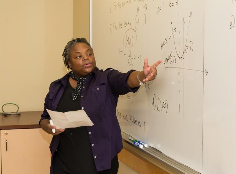 "Kean University adjunct professor Irisa Leverette of North Brunswick uses rap in the classroom to encourage her students and reduce ""math anxiety."""