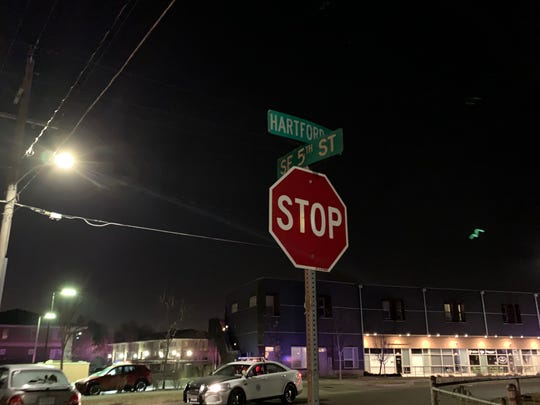 The intersection of SE Fifth Street and Hartford Avenue is seen Wednesday, Dec. 12, 2018. A shooting occurred here about 8 p.m. A bullet entered an unrelated home but no one was hurt.