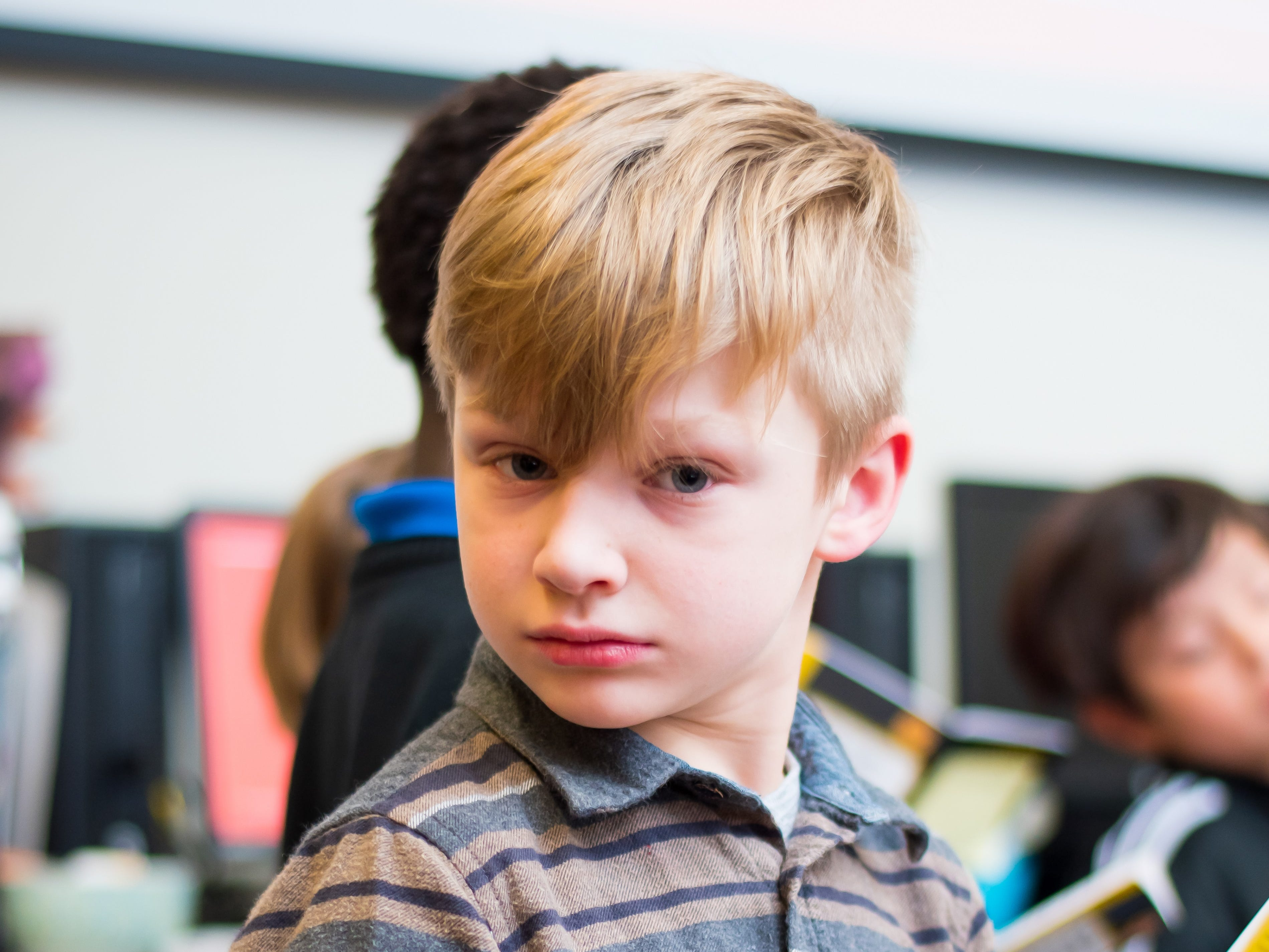 Levi McNeece, 8, of Clive waits to read his part at the Celebrate Crestview event on Tuesday, Dec. 11, 2018 at Crestview School of Inquiry in Clive. Students learned the history of immigration in Clive and the impact it has had on Crestview.