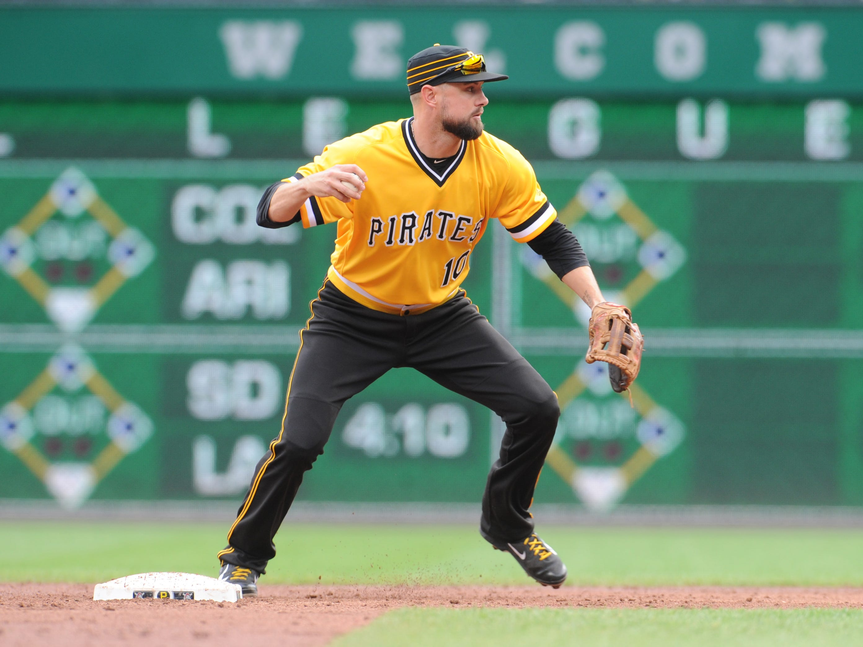 Pittsburgh Pirates shortstop Jordy Mercer throws to first base in the third inning against the Milwaukee Brewers at PNC Park, Sept. 23, 2018.