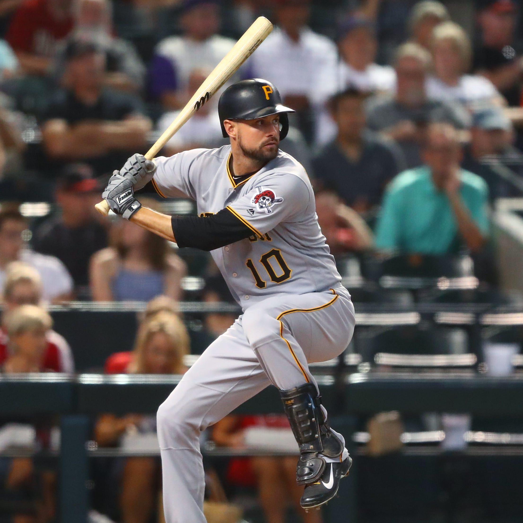 Pittsburgh Pirates shortstop Jordy Mercer bats...