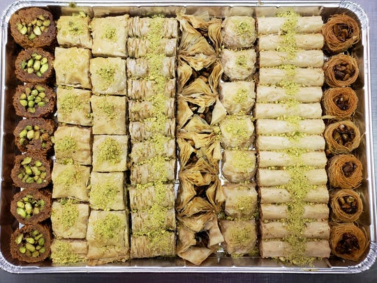 A tray of assorted baklava from Mid-east Pastry Delight in Sterling Heights.