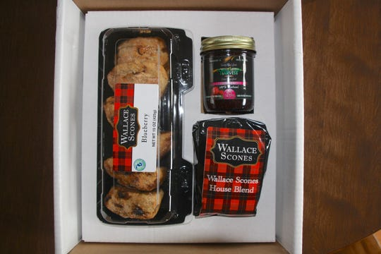 A gift box from Wallace Scones includes coffee, jam and scones.