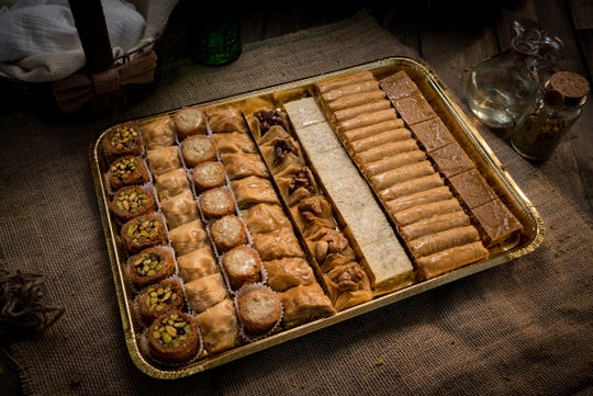 A mixed tray of baklawa from Shatila Bakery.