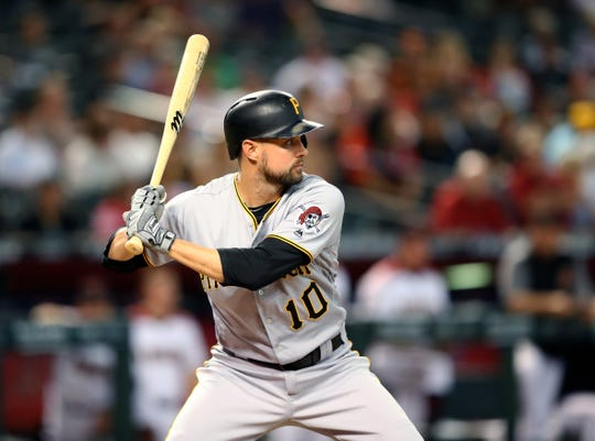 Pittsburgh Pirates shortstop Jordy Mercer bats against the Arizona Diamondbacks at Chase Field, June 13, 2018.