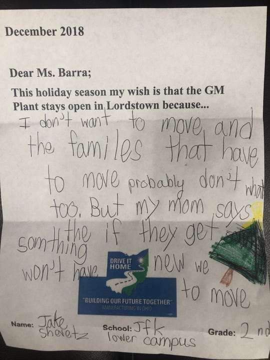 One of the thousands of letters school children near Lordstown, Ohio wrote to GM CEO Mary Barra. GM announced it will stop allocating product to the plant, meaning it could close in 2019.