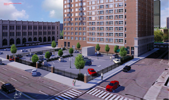 A mock up, presented to the Detroit Historical Commission, of what 550 W. Fort St. would look like with surface parking.